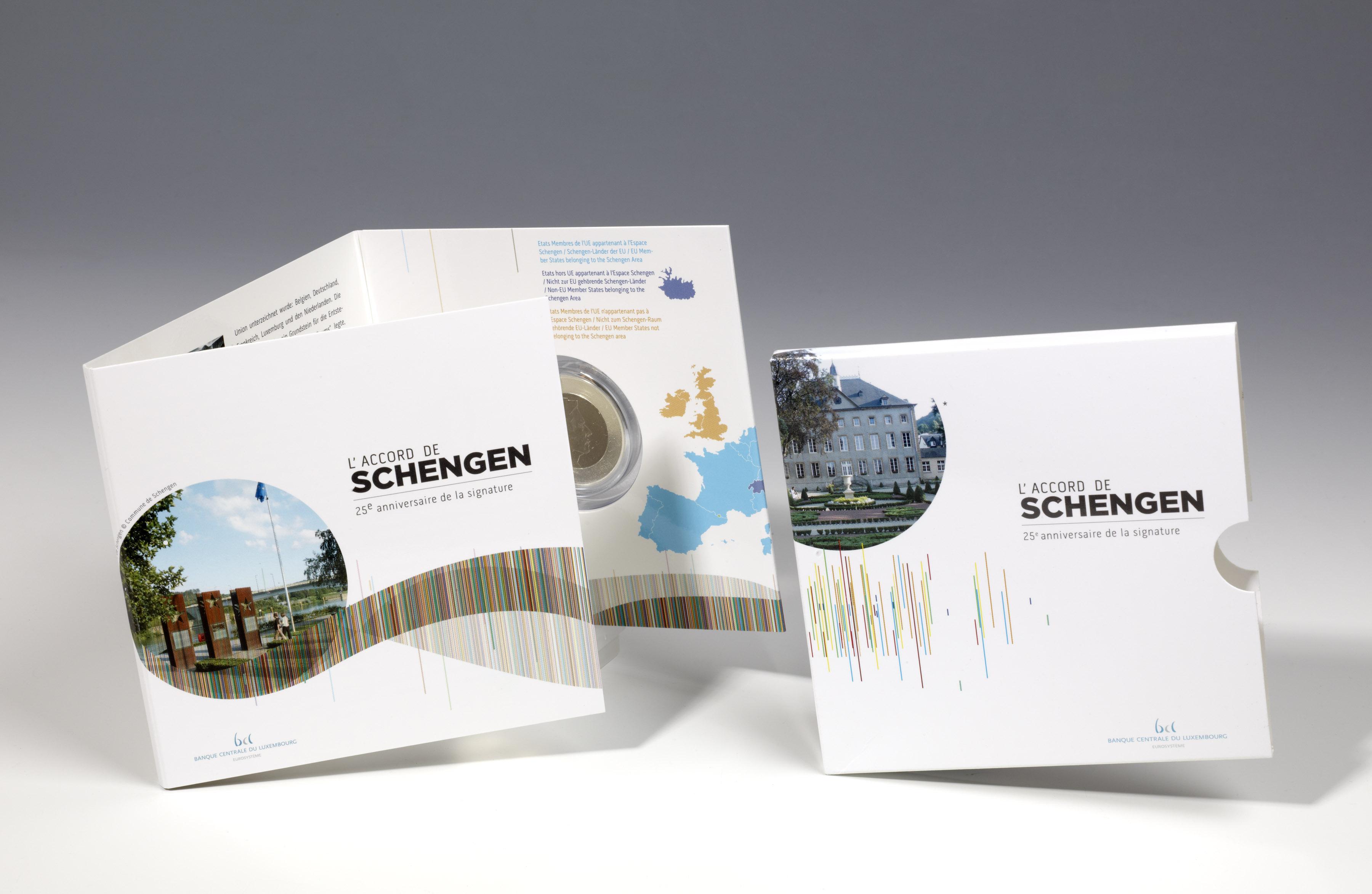 banque centrale du luxembourg pi ce 25e anniversaire de l accord de schengen remise. Black Bedroom Furniture Sets. Home Design Ideas